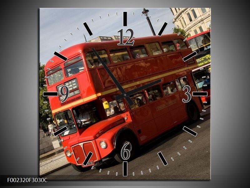 Wandklok op Canvas Engeland   Kleur: Zwart, Wit, Rood   F002320C