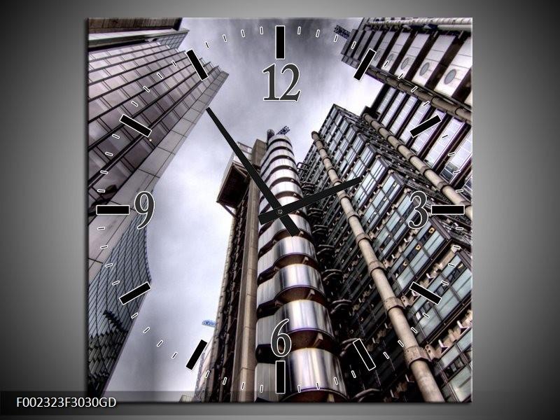 Wandklok op Glas Gebouw | Kleur: Grijs, Wit | F002323CGD