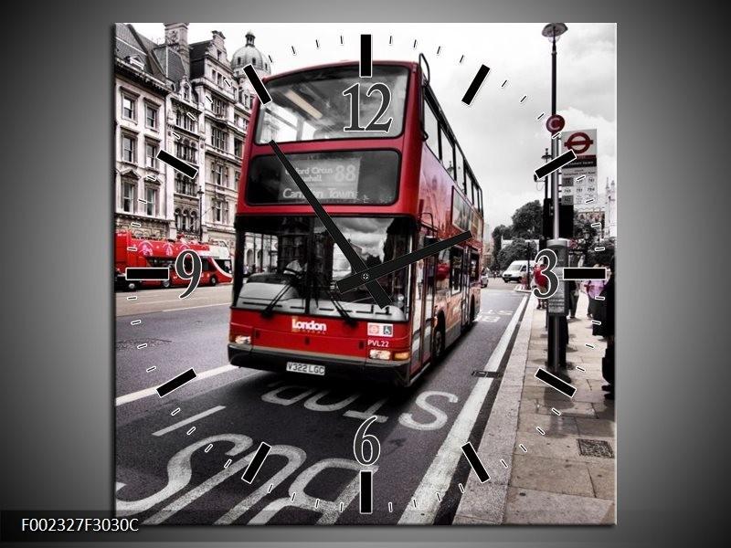 Wandklok op Canvas Engeland   Kleur: Zwart, Rood, Wit   F002327C