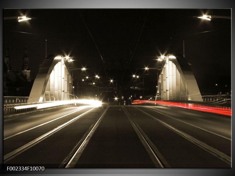 Foto canvas schilderij Straat | Zwart, Wit, Rood
