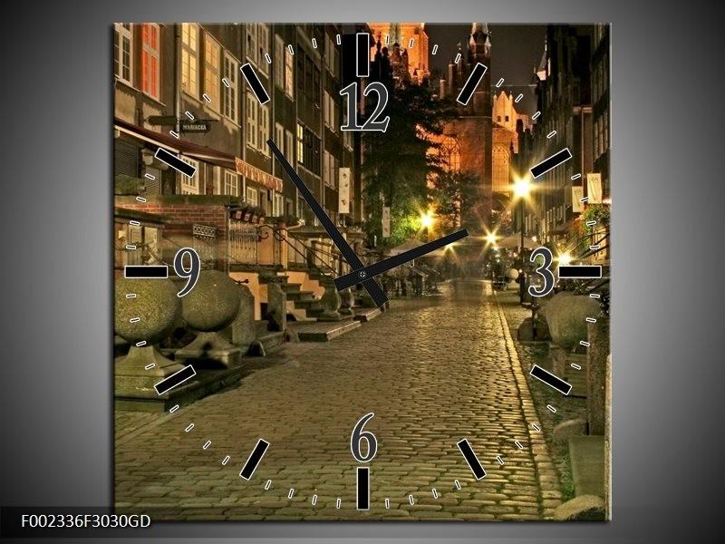 Wandklok op Glas Straat | Kleur: Groen, Bruin, Geel | F002336CGD