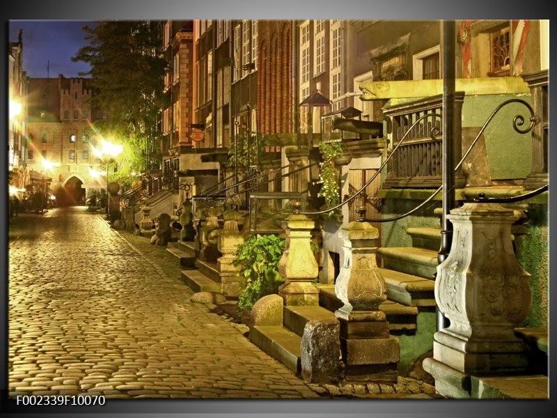 Foto canvas schilderij Straat | Groen, Wit, Geel