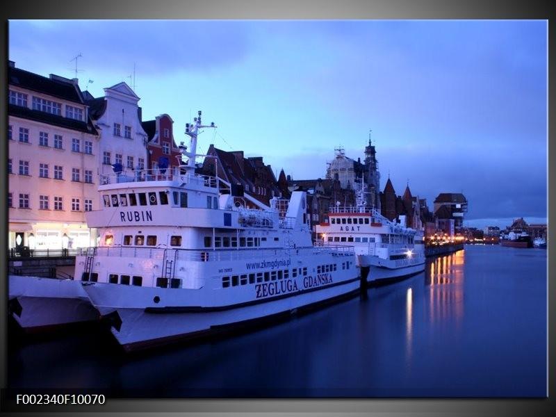 Foto canvas schilderij Boot | Blauw, Wit, Grijs
