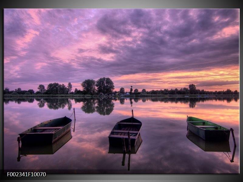 Foto canvas schilderij Boot | Paars, Wit, Zwart