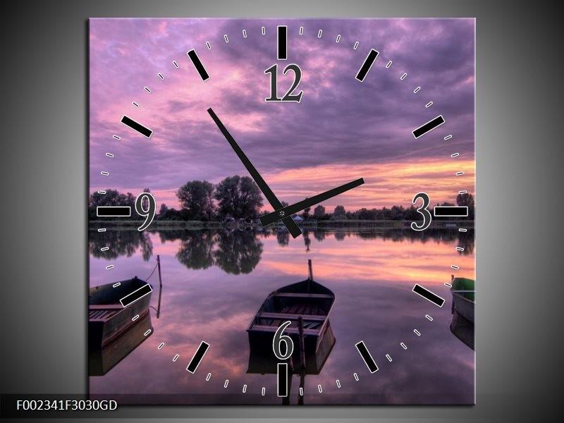 Wandklok op Glas Boot | Kleur: Paars, Wit, Zwart | F002341CGD