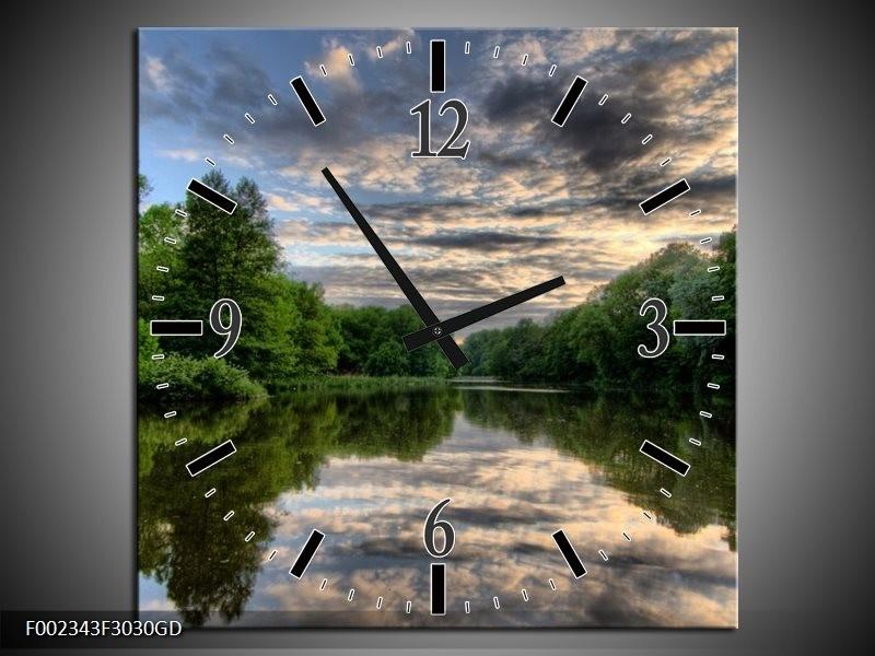 Wandklok op Glas Natuur   Kleur: Groen, Grijs, Wit   F002343CGD