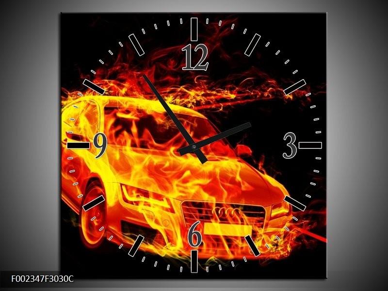 Wandklok op Canvas Audi | Kleur: Geel, Goud, Oranje | F002347C