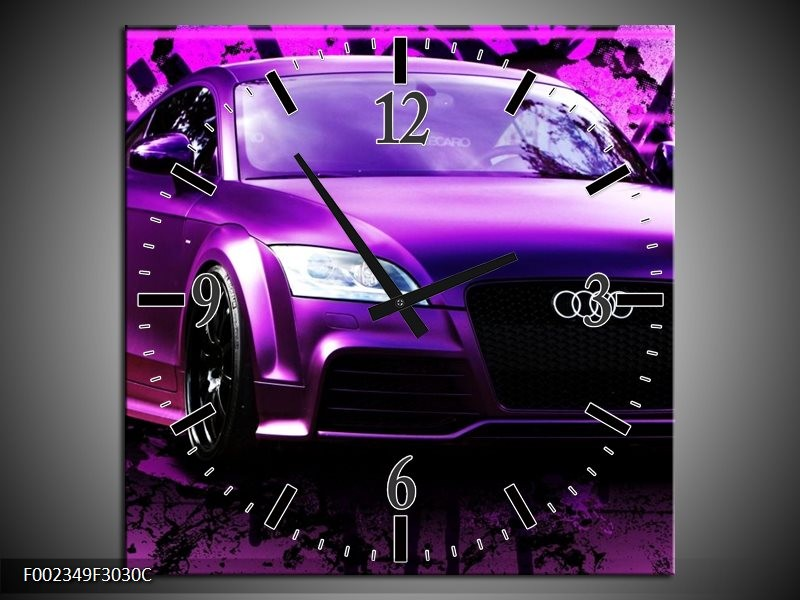 Wandklok op Canvas Audi | Kleur: Paars, Zwart, Wit | F002349C