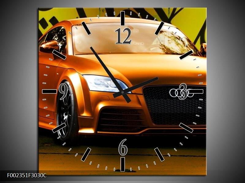 Wandklok op Canvas Audi | Kleur: Bruin, Groen, Zwart | F002351C