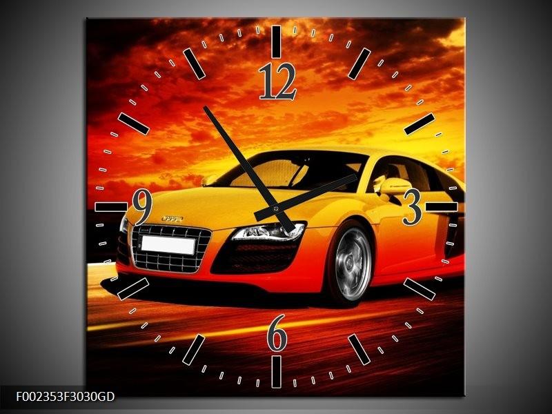 Wandklok op Glas Audi | Kleur: Geel, Oranje, Zwart | F002353CGD