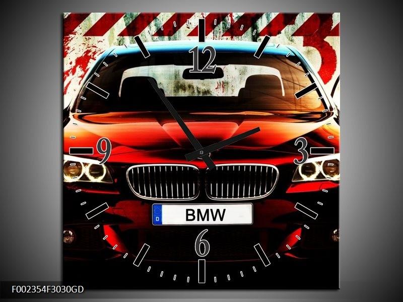Wandklok op Glas BMW | Kleur: Zwart, Rood, Wit | F002354CGD