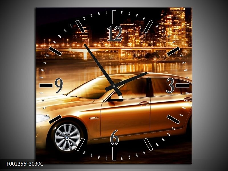 Wandklok op Canvas BMW   Kleur: Geel, Goud, Zwart   F002356C