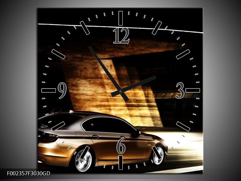 Wandklok op Glas BMW | Kleur: Zwart, Goud, Wit | F002357CGD