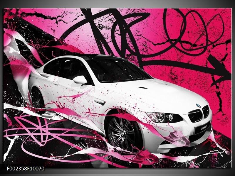 Foto canvas schilderij BMW | Paars, Rood, Wit