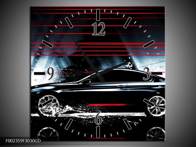 Wandklok op Glas Auto | Kleur: Rood, Zwart, Grijs | F002359CGD