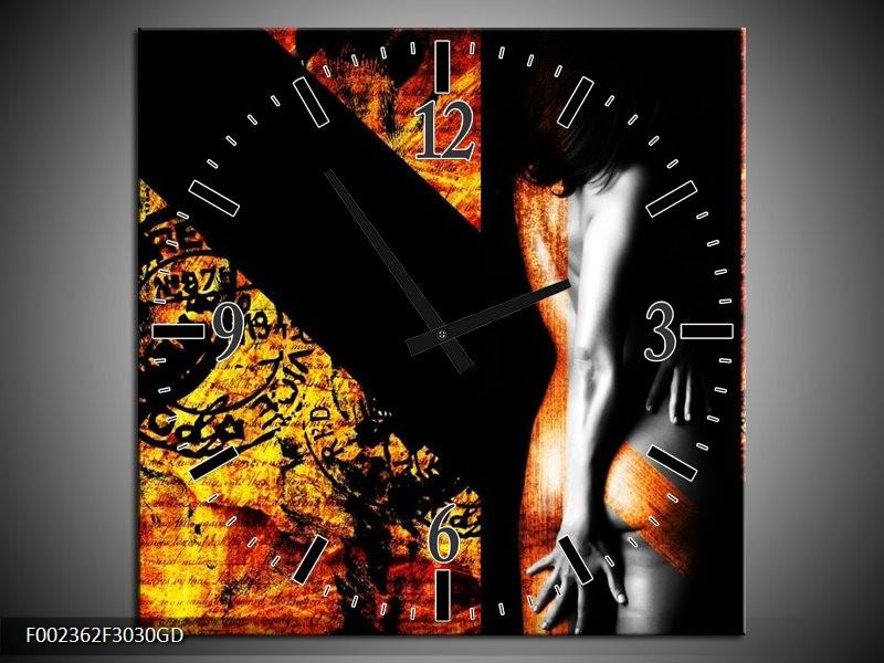 Wandklok op Glas Lichaam   Kleur: Geel, Oranje, Zwart   F002362CGD
