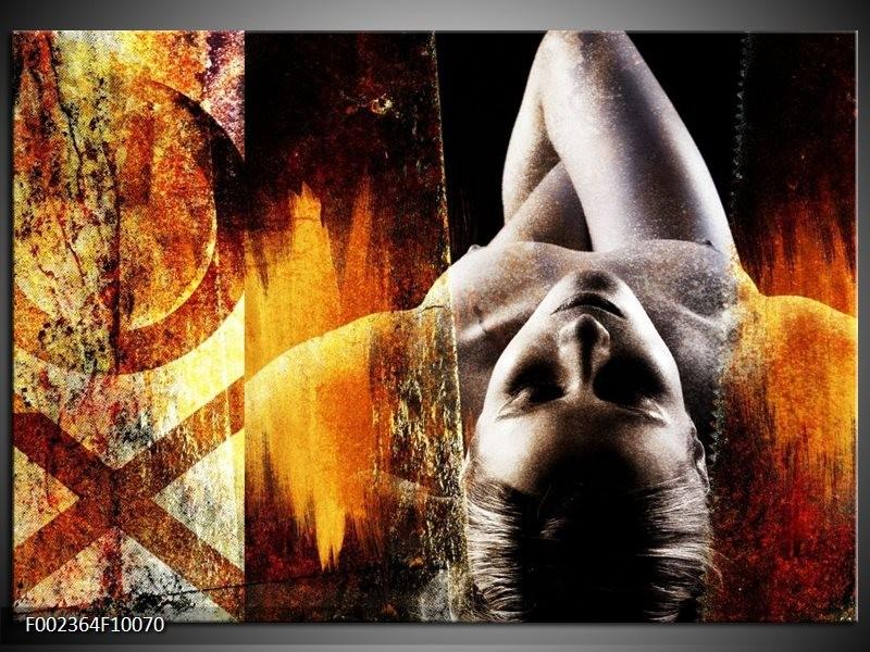 Foto canvas schilderij Lichaam   Geel, Oranje, Zwart