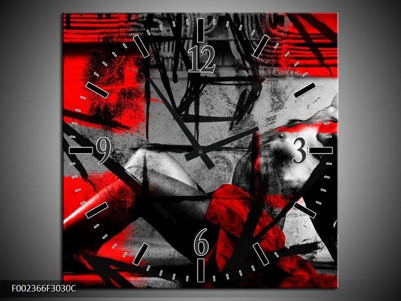Wandklok op Canvas Lichaam | Kleur: Rood, Grijs, Zwart | F002366C