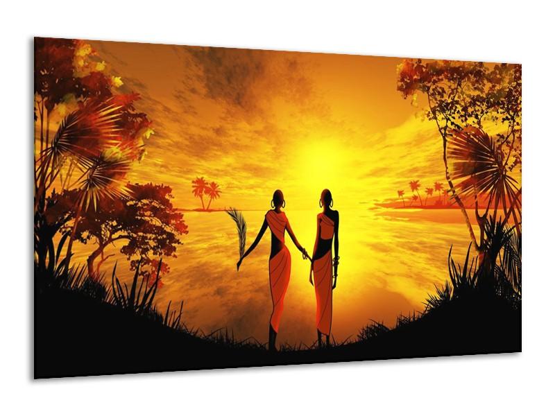 Glas schilderij Afrika | Geel, Oranje, Zwart | 120x70cm 1Luik