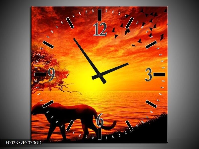 Wandklok op Glas Natuur | Kleur: Oranje, Zwart, Rood | F002372CGD