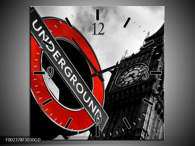 Wandklok op Glas Londen | Kleur: Zwart, Rood, Wit | F002378CGD