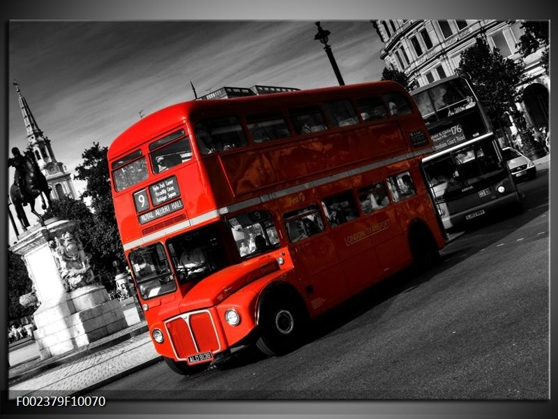 Foto canvas schilderij Londen | Rood, Zwart, Grijs