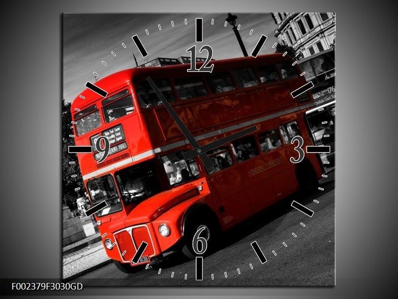 Wandklok op Glas Londen | Kleur: Rood, Zwart, Grijs | F002379CGD