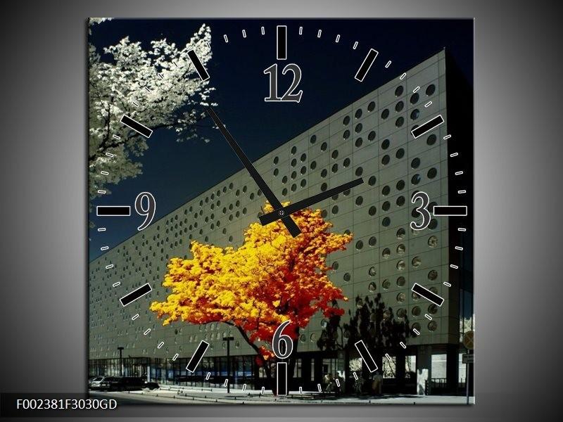 Wandklok op Glas Boom   Kleur: Geel, Grijs, Wit   F002381CGD