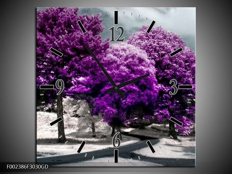 Wandklok op Glas Natuur | Kleur: Paars, Wit, Grijs | F002386CGD