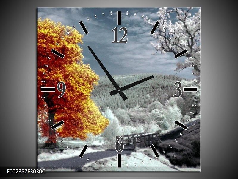 Wandklok op Canvas Natuur | Kleur: Oranje, Wit, Grijs | F002387C
