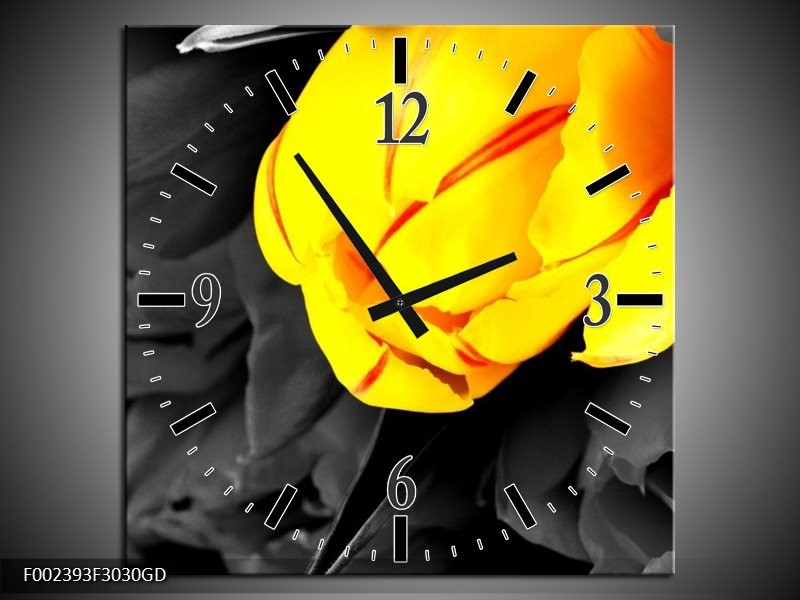 Wandklok op Glas Tulp | Kleur: Geel, Grijs, Zwart | F002393CGD
