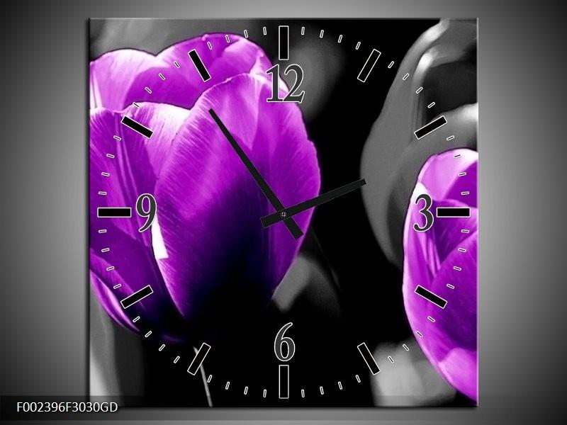 Wandklok op Glas Tulp   Kleur: Paars, Grijs, Zwart   F002396CGD