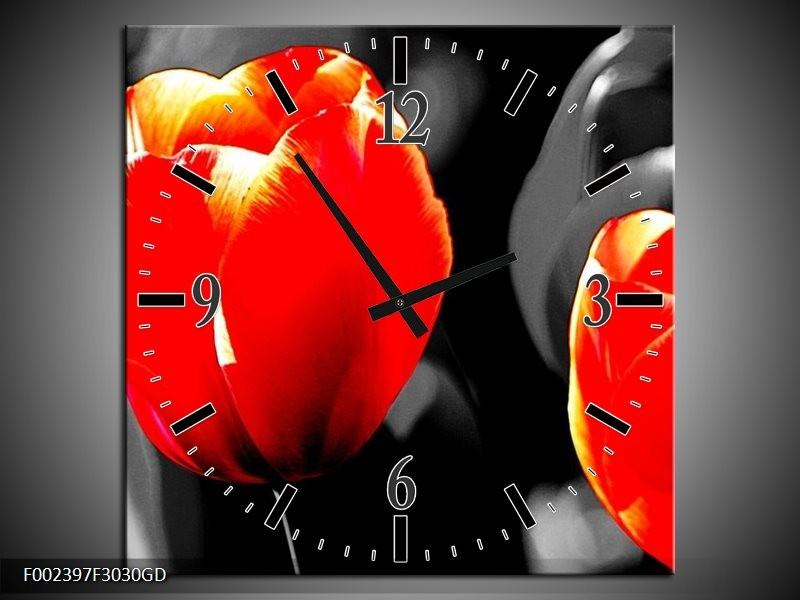 Wandklok op Glas Tulp | Kleur: Rood, Grijs, Zwart | F002397CGD