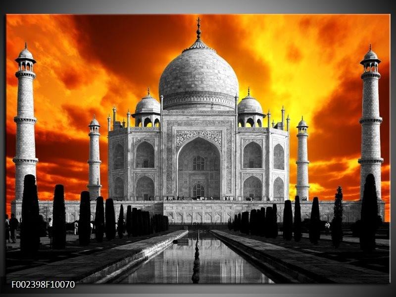 Foto canvas schilderij Taj Mahal   Oranje, Zwart, Grijs