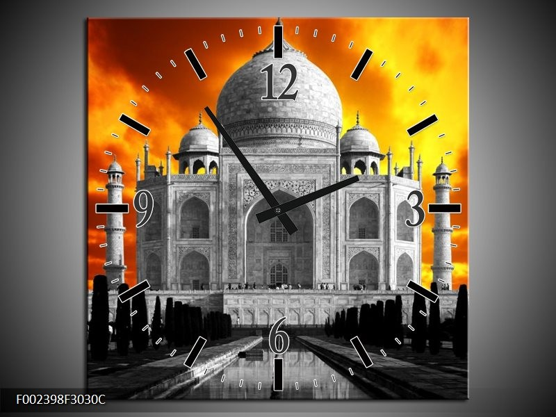 Wandklok op Canvas Taj Mahal | Kleur: Oranje, Zwart, Grijs | F002398C