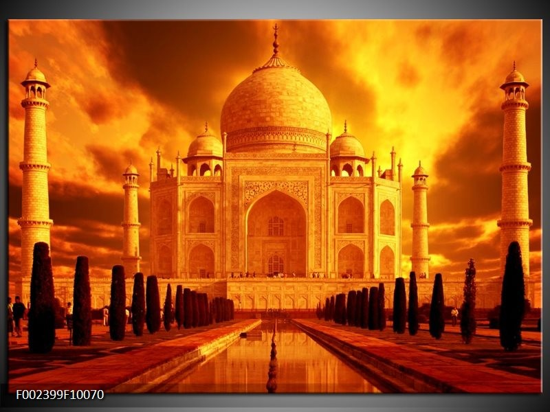 Foto canvas schilderij Taj Mahal | Oranje, Geel, Zwart
