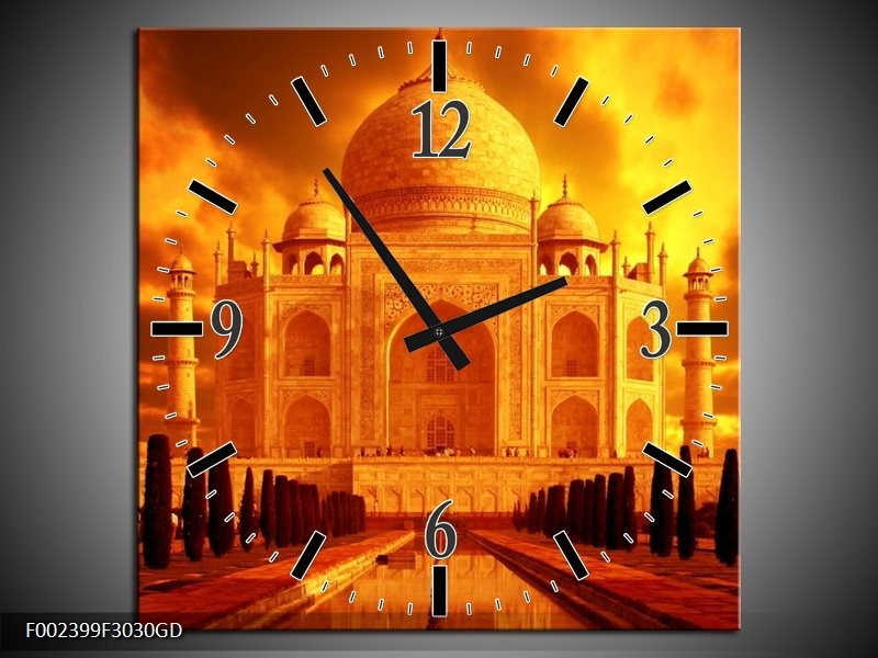 Wandklok op Glas Taj Mahal | Kleur: Oranje, Geel, Zwart | F002399CGD