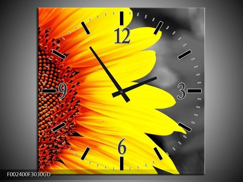 Wandklok op Glas Zonnebloem | Kleur: Geel, Bruin, Grijs | F002400CGD