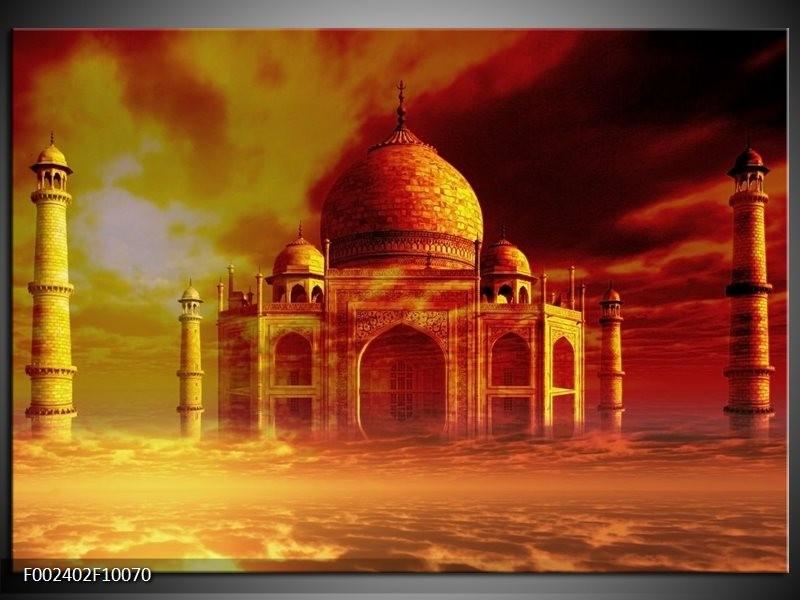 Foto canvas schilderij Taj Mahal   Oranje, Bruin, Geel