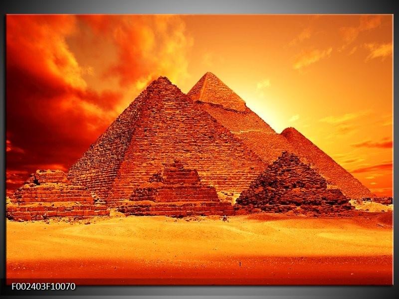 Foto canvas schilderij Piramide | Geel, Rood, Oranje