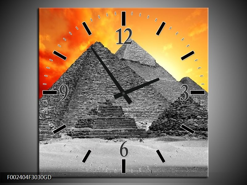 Wandklok op Glas Piramide   Kleur: Geel, Grijs, Oranje   F002404CGD