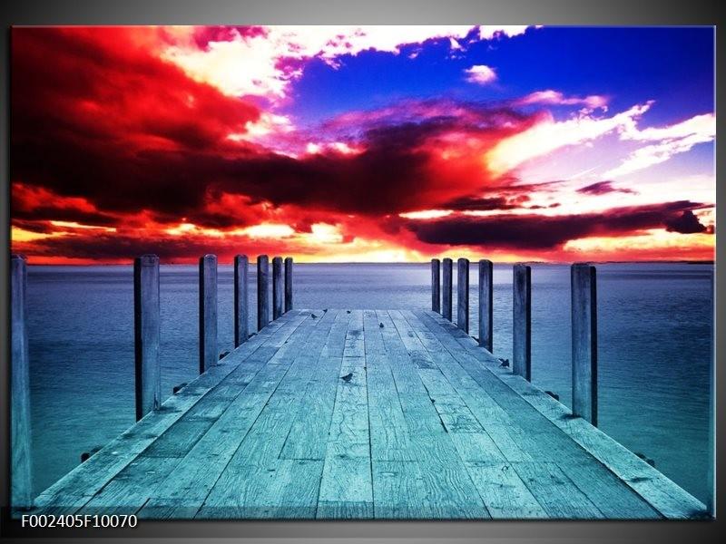 Foto canvas schilderij Zicht | Blauw, Paars, Rood