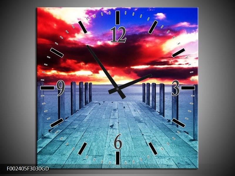 Wandklok op Glas Zicht | Kleur: Blauw, Paars, Rood | F002405CGD
