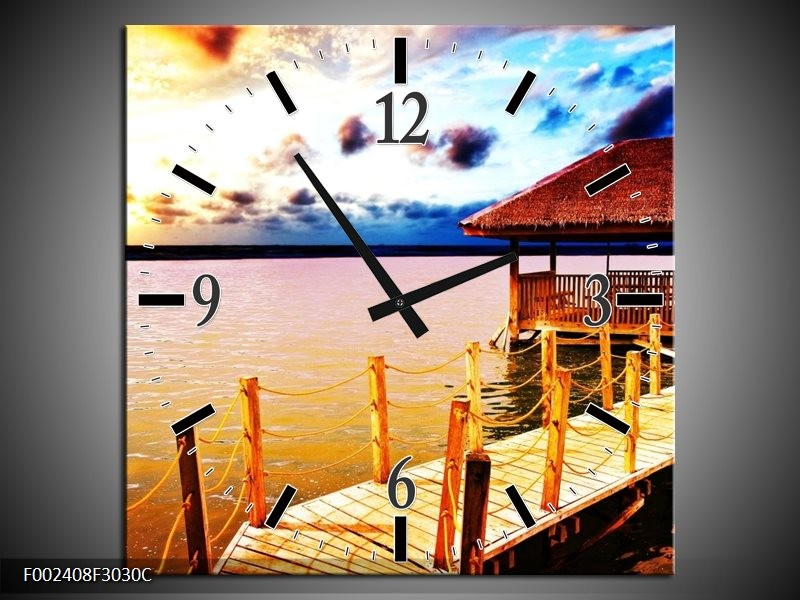 Wandklok op Canvas Zee | Kleur: Geel, Blauw, Bruin | F002408C