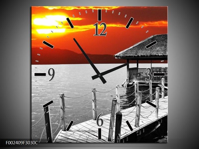 Wandklok op Canvas Zee | Kleur: Grijs, Geel, Oranje | F002409C