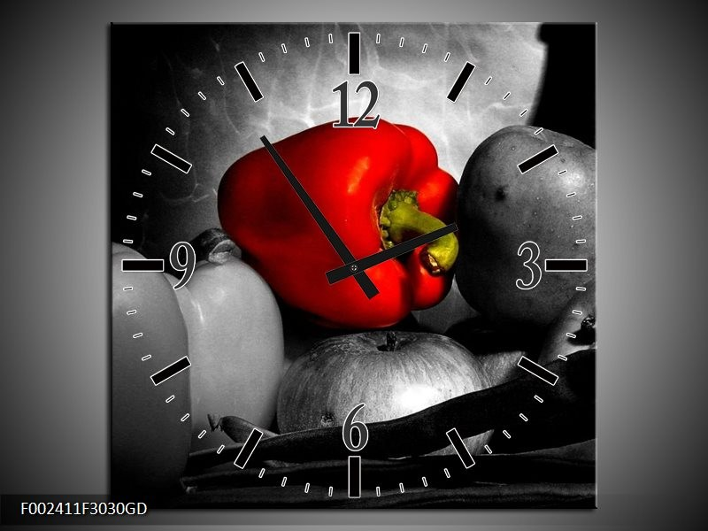 Wandklok op Glas Groente   Kleur: Rood, Grijs, Zwart   F002411CGD
