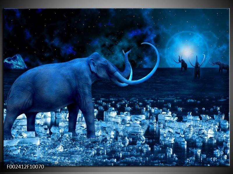 Glas schilderij olifant blauw wit zwart groepart for Schilderij olifant
