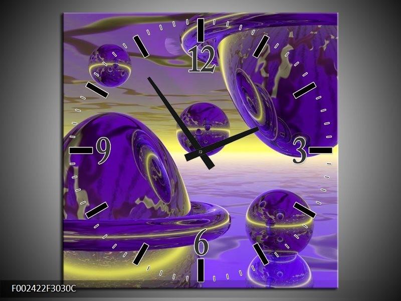 Wandklok op Canvas Abstract | Kleur: Blauw, Paars, Geel | F002422C