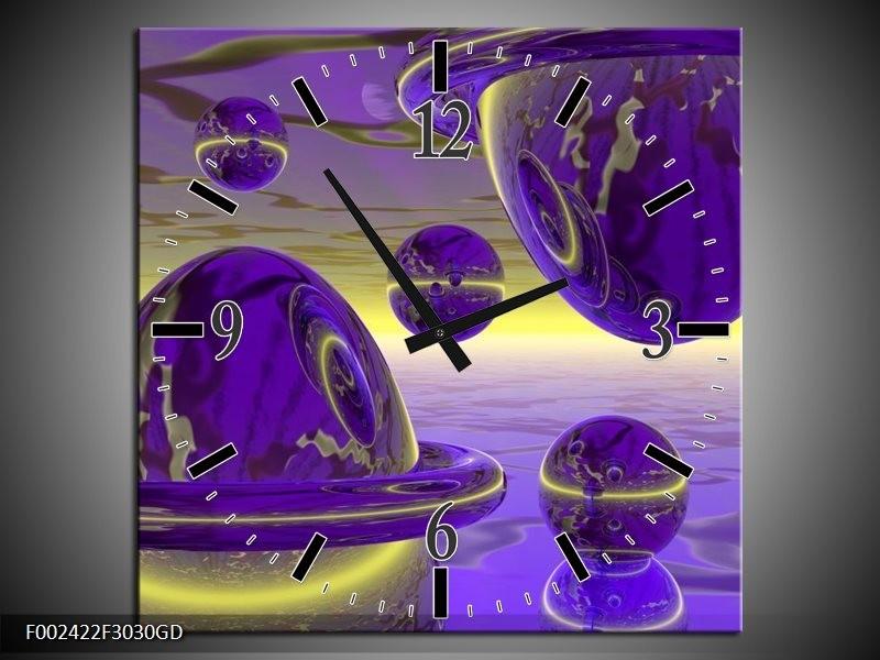 Wandklok op Glas Abstract | Kleur: Blauw, Paars, Geel | F002422CGD