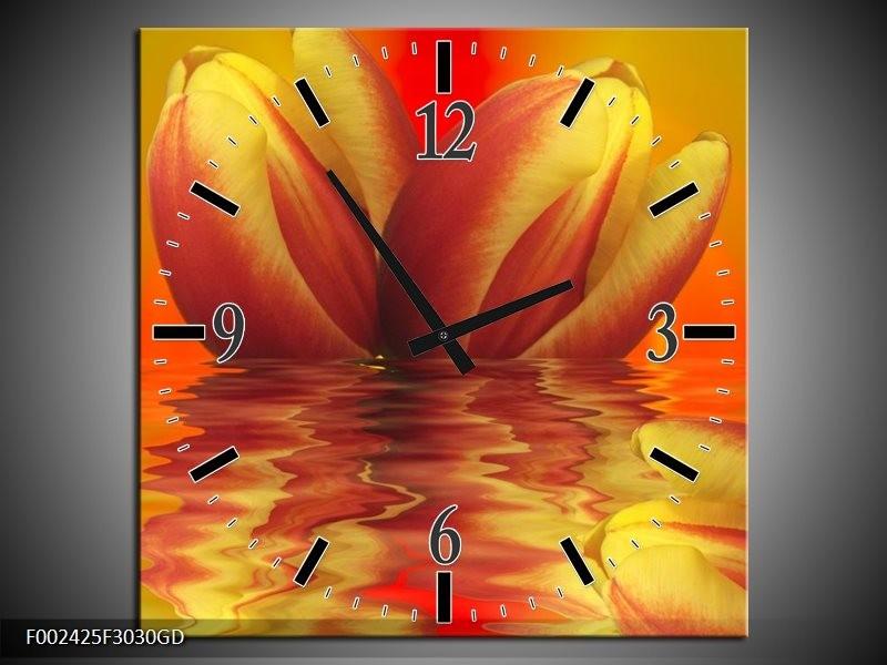 Wandklok op Glas Tulp | Kleur: Geel, Rood | F002425CGD